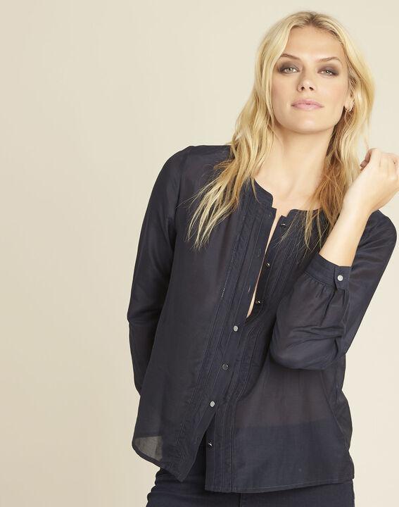 Marineblauwe blouse van katoen en zijde Camille PhotoZ | 1-2-3