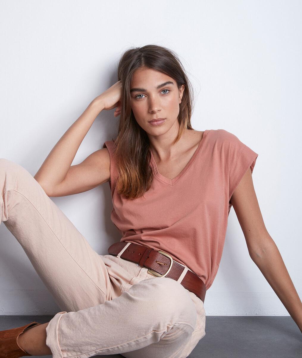 Tee-shirt col V en coton bio rose poudré Ideal PhotoZ | 1-2-3