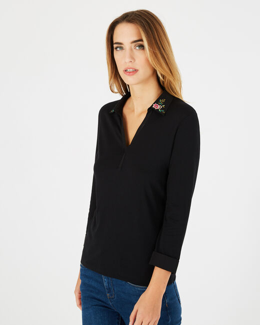 T-Shirt mit besticktem Kragen Bright (1) - 1-2-3