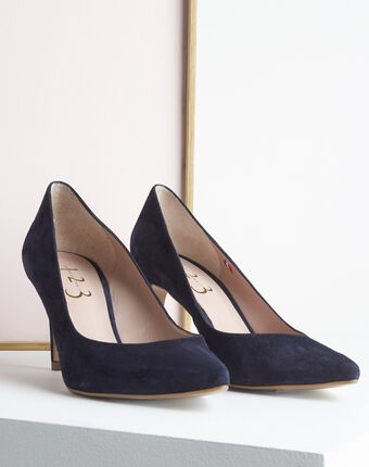 Kelly navy velvet-effect shoes with pointed toe navy.