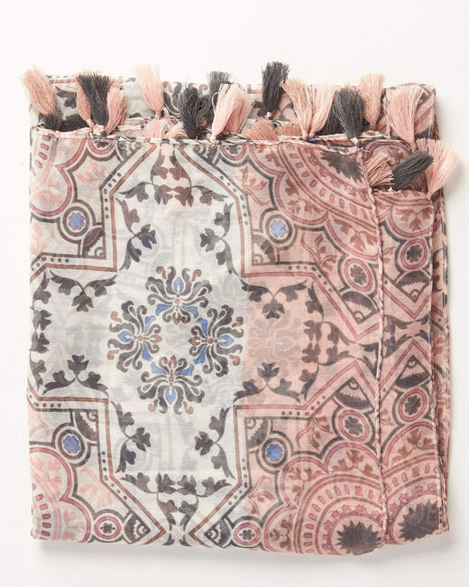 Anais graphic print scarf in pale pink (2) - 1-2-3
