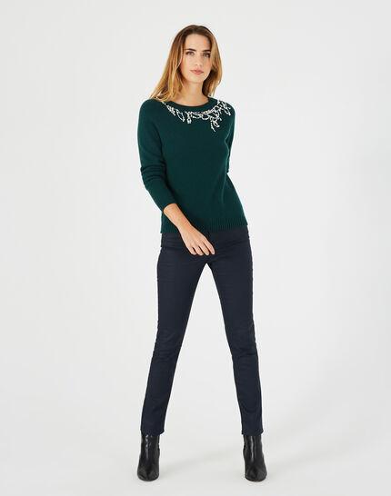 Waldgrüner Pullover aus Woll-Mix mit Perlen Perle (1) - 1-2-3