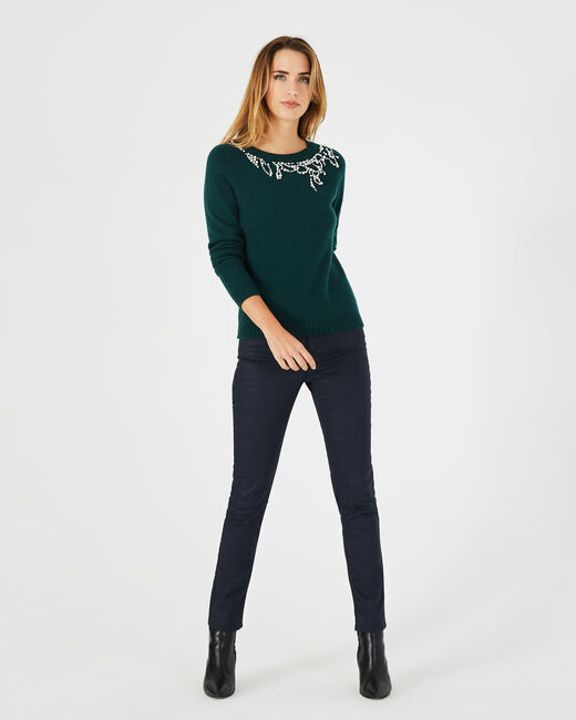 Perle forest green sweater with beading in a wool blend (1) - 1-2-3