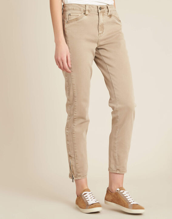 Opera slim-cut camel jeans with zips at the waist (3) - 1-2-3