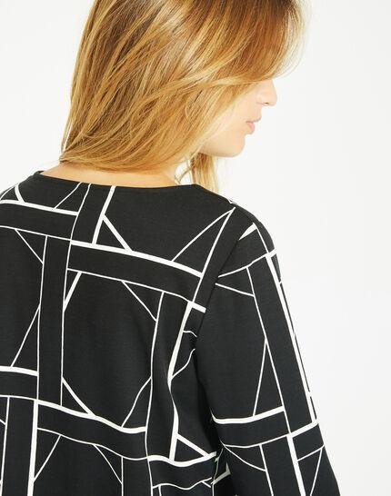 Tee-shirt noir imprimé graphique Losange (4) - 1-2-3