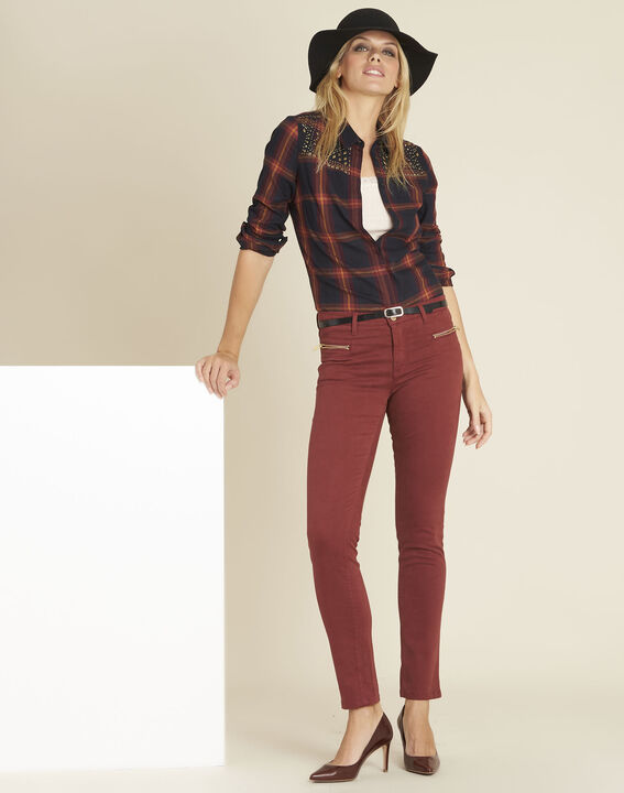 Germain mahogany straight-cut jeans with zipped pockets (2) - Maison 123