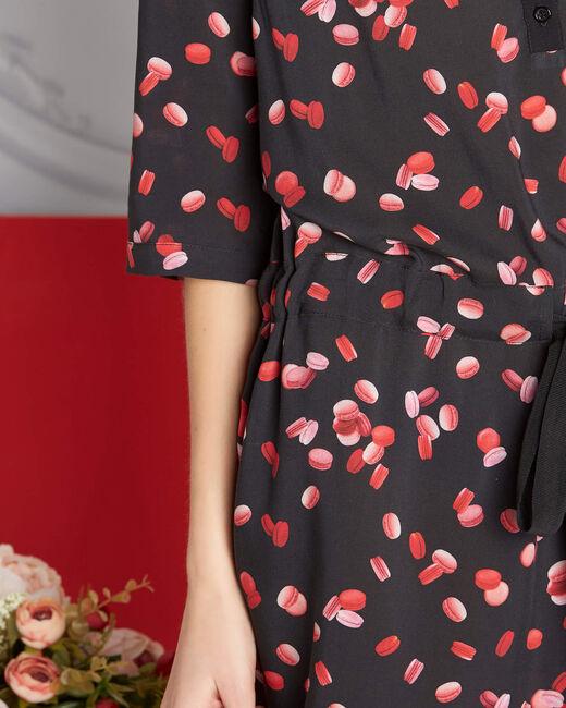 Pippa black macaron printed dress (2) - 1-2-3