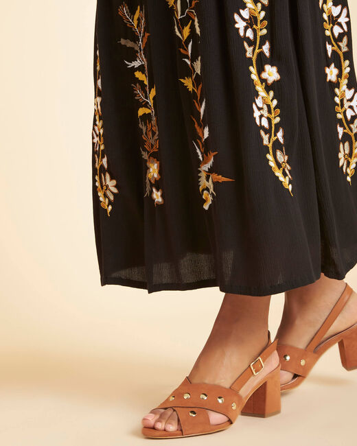 Lucy long embroidered black skirt (1) - 1-2-3