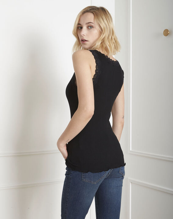 Guest black silk and cotton tank top with lace neckline (4) - Maison 123