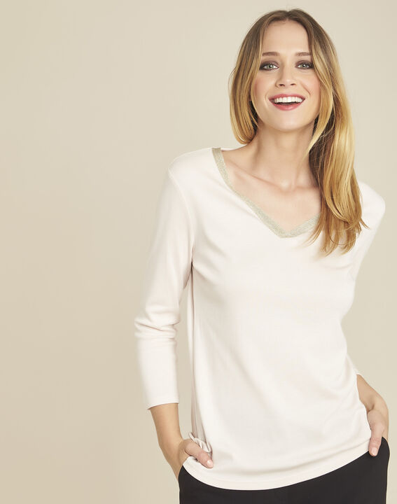 Galvani nude T-shirt with golden neckline and 3/4 length sleeves PhotoZ | 1-2-3