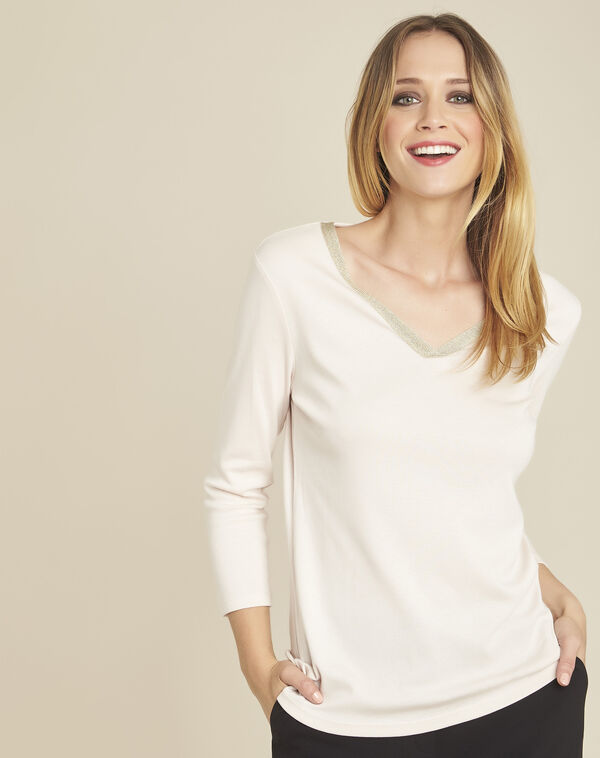 Galvani nude T-shirt with golden neckline and 3/4 length sleeves (1) - 1-2-3