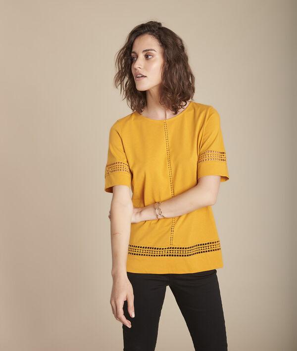 Tee-shirt jaune en dentelle Cadix PhotoZ | 1-2-3