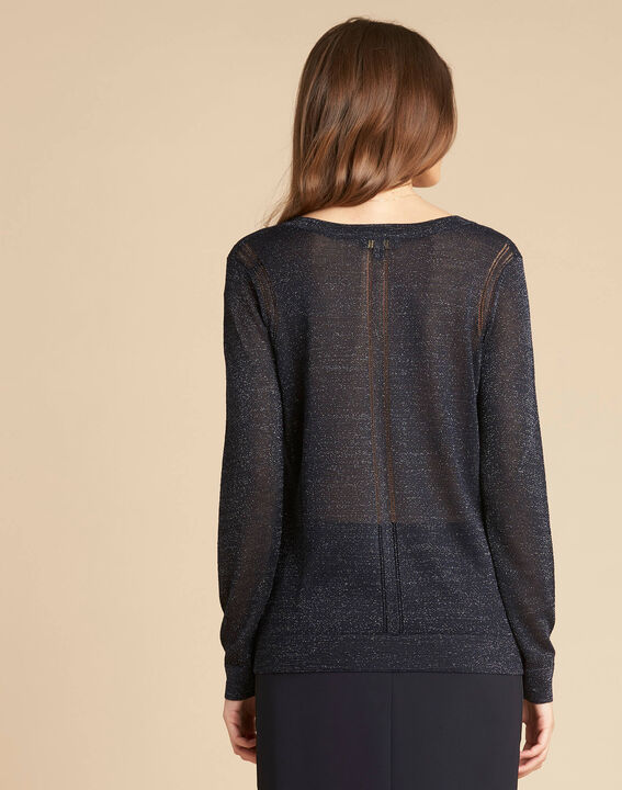 Noisetier navy blue openwork shiny sweater (4) - 1-2-3