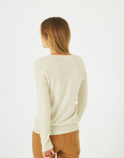 Pivoine ecru V-neck sweater in cashmere (4) - 1-2-3