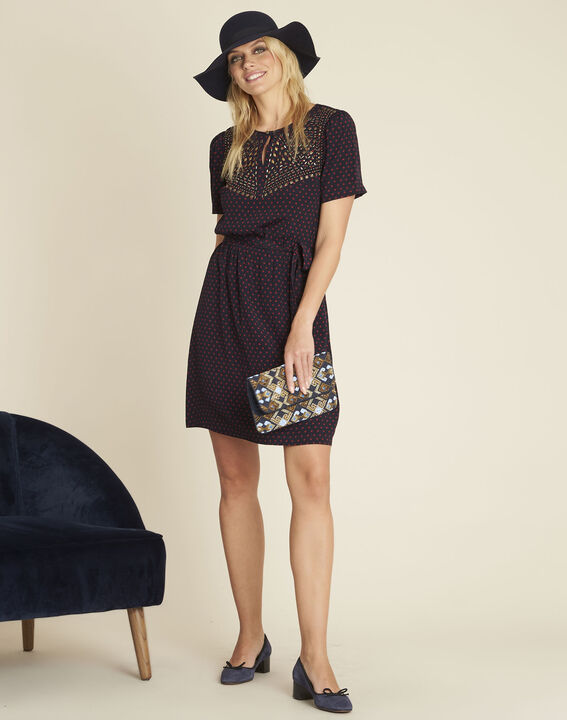Dany navy blue printed dress (2) - 1-2-3