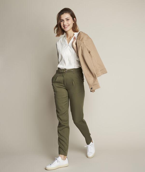 Pantalon chino en tencel kaki Issel PhotoZ | 1-2-3