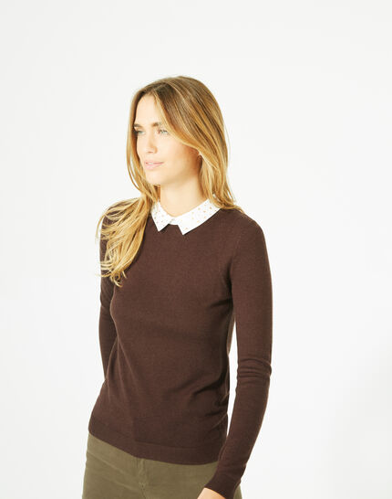 Pretty dark brown sweater with stylish neckline (2) - 1-2-3