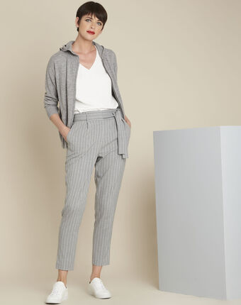 Hemy grey striped belted trousers light chine.