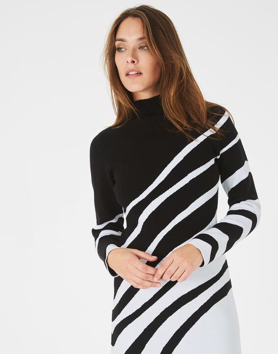 Robe noir et blanc graphique tricot Astre (3) - 1-2-3