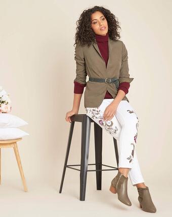 Witte slim fit 7/8-jeans met borduurwerk vendôme blanc.