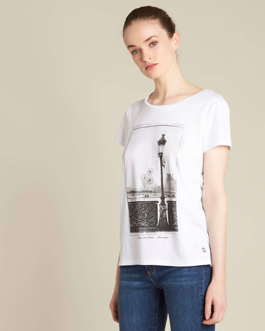 Tee-shirt écru imprimé pont des Arts Enamorada (2) - 1-2-3