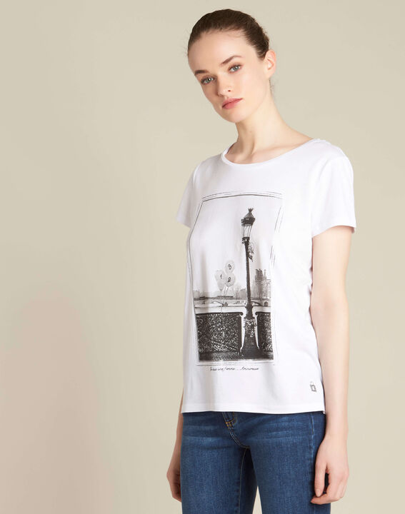"Ecrufarbenes T-Shirt mit ""Pont des Arts""-Print Enamorada (3) - 1-2-3"