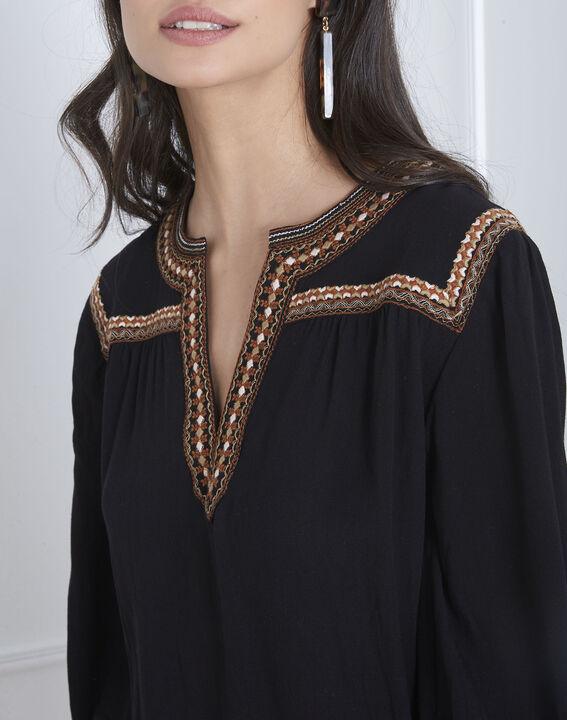Schwarze Bluse mit Ethno-Stickerei Vita (3) - Maison 123