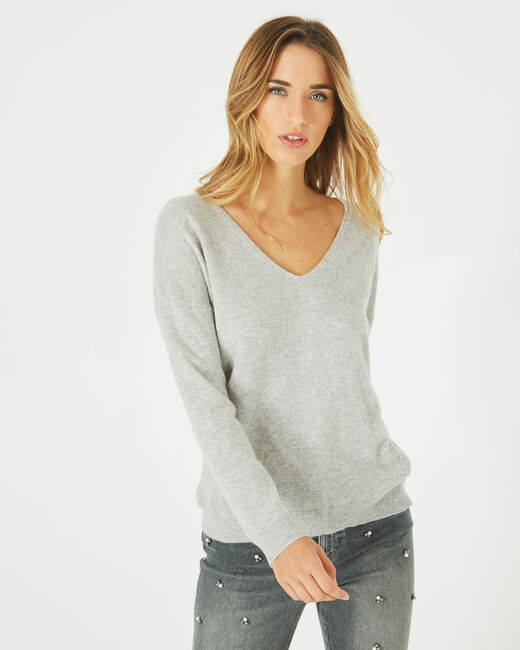 Piment grey cashmere sweater with V-neck (2) - 1-2-3