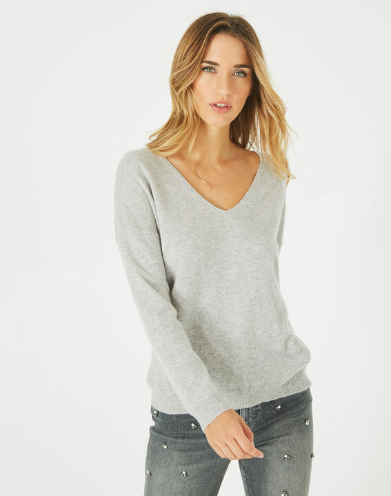 Pull gris col V cachemire Piment (2) - 1-2-3