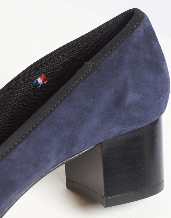 Kalista navy velvet-effect shoes with square heels (5) - 1-2-3