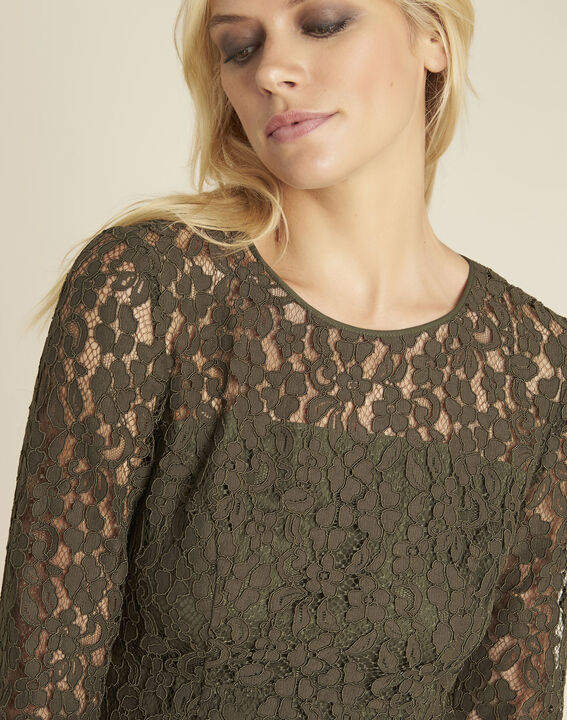 Nadine straight dress in khaki lace (2) - Maison 123