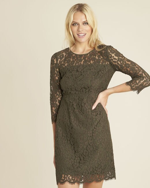 Nadine straight dress in khaki lace (2) - 1-2-3