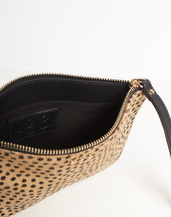 Droopy animal print clutch with leather straps (4) - 1-2-3
