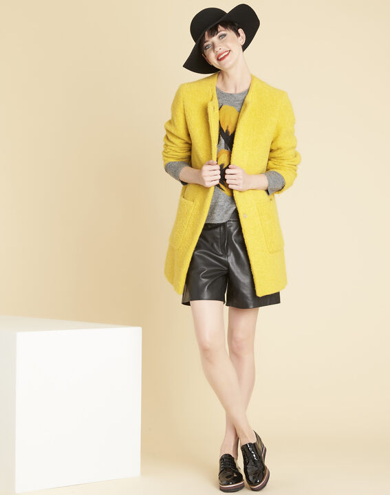 Emma yellow 3/4 length coat in a wool blend (2) - 1-2-3
