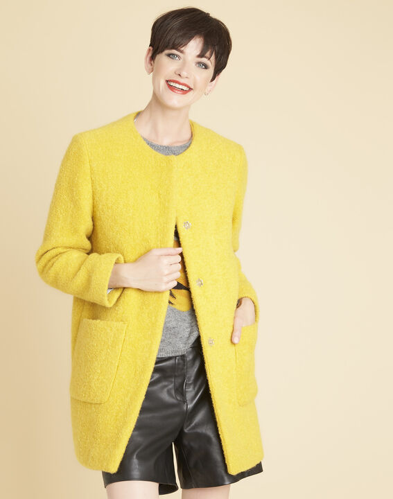 Emma yellow 3/4 length coat in a wool blend PhotoZ | 1-2-3