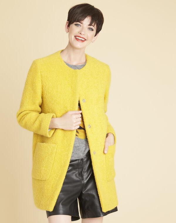 Manteau jaune 3/4 laine mélangée Emma (1) - 1-2-3