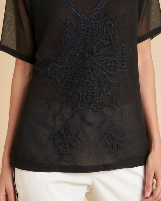 Zwarte blouse met geborduurde tule Galega (2) - 37653