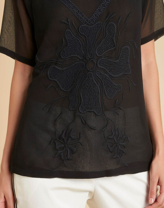 Galega black embroidered blouse in tulle PhotoZ | 1-2-3