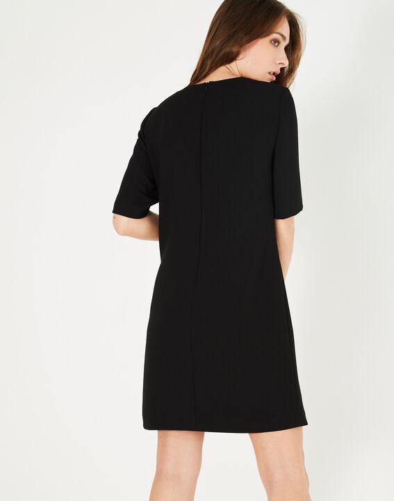 Schwarzes Krepp-Kleid Plume (5) - 1-2-3