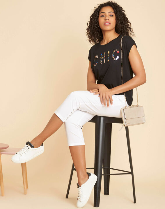 """Emilia black T-shirt with """"Chic"""" lettering (2) - 1-2-3"""