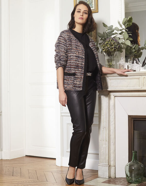 Hectotrine black slim-fit trousers in milano fabric (2) - 1-2-3