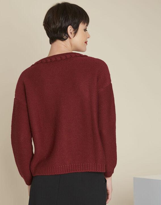 Pull acajou torsade laine mélangée Bolchoi (4) - Maison 123