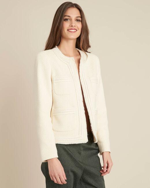 Carlotta jacquard effect ecru short jacket (2) - 1-2-3