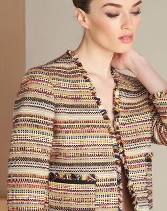 Tweed-jacke mit aufgesetzten taschen citrouille karminrot.