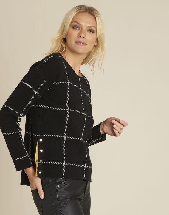 Pull noir rayé en laine mélangée British PhotoZ | 1-2-3