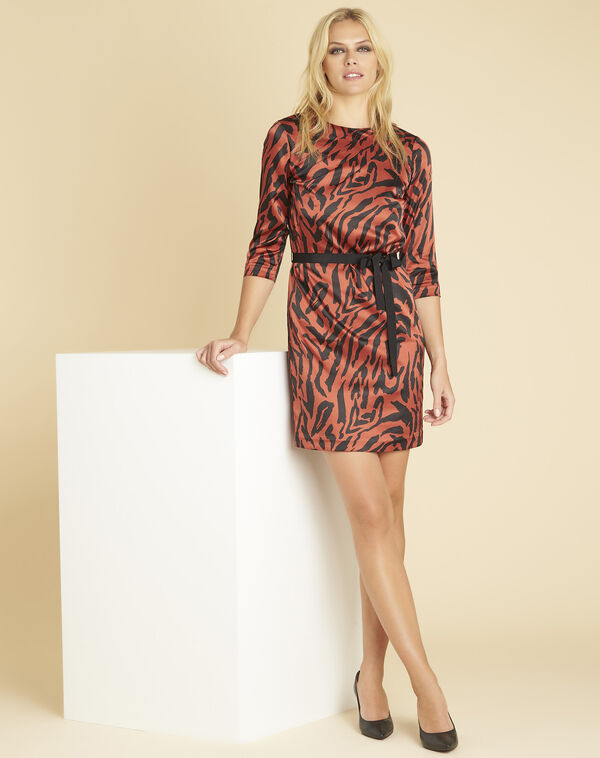 Diandra animal print dress in terracotta (2) - 1-2-3