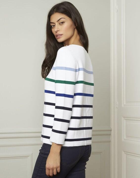 Witte trui met kleurrijke strepen van gemengde viscose Nacadamia (3) - Maison 123