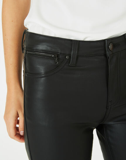 Pantalon noir slim faux cuir William (3) - 1-2-3