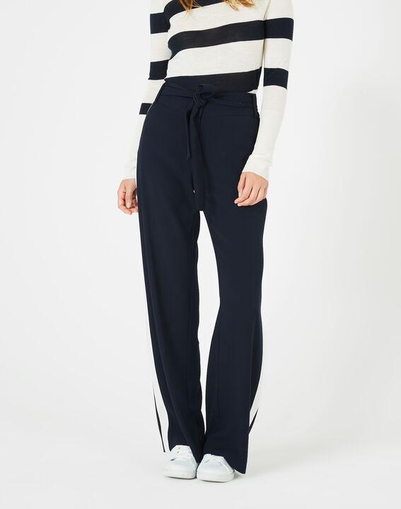 Pantalon bleu marine fluide bande côté Kamelia PhotoZ | 1-2-3