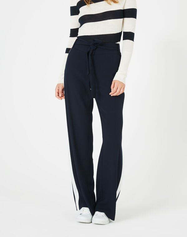 Pantalon bleu marine fluide bande côté kamelia à